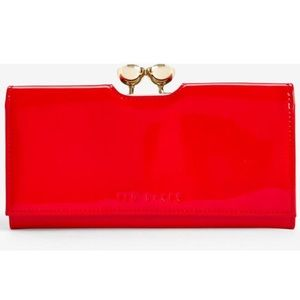 TED BAKER RED CRYSTAL BOBBLE PATENT MATINEE PURSE